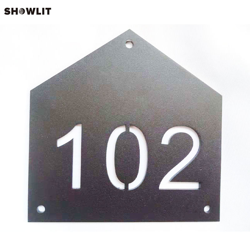 Custom Black House Number Sign Plates in House Shape