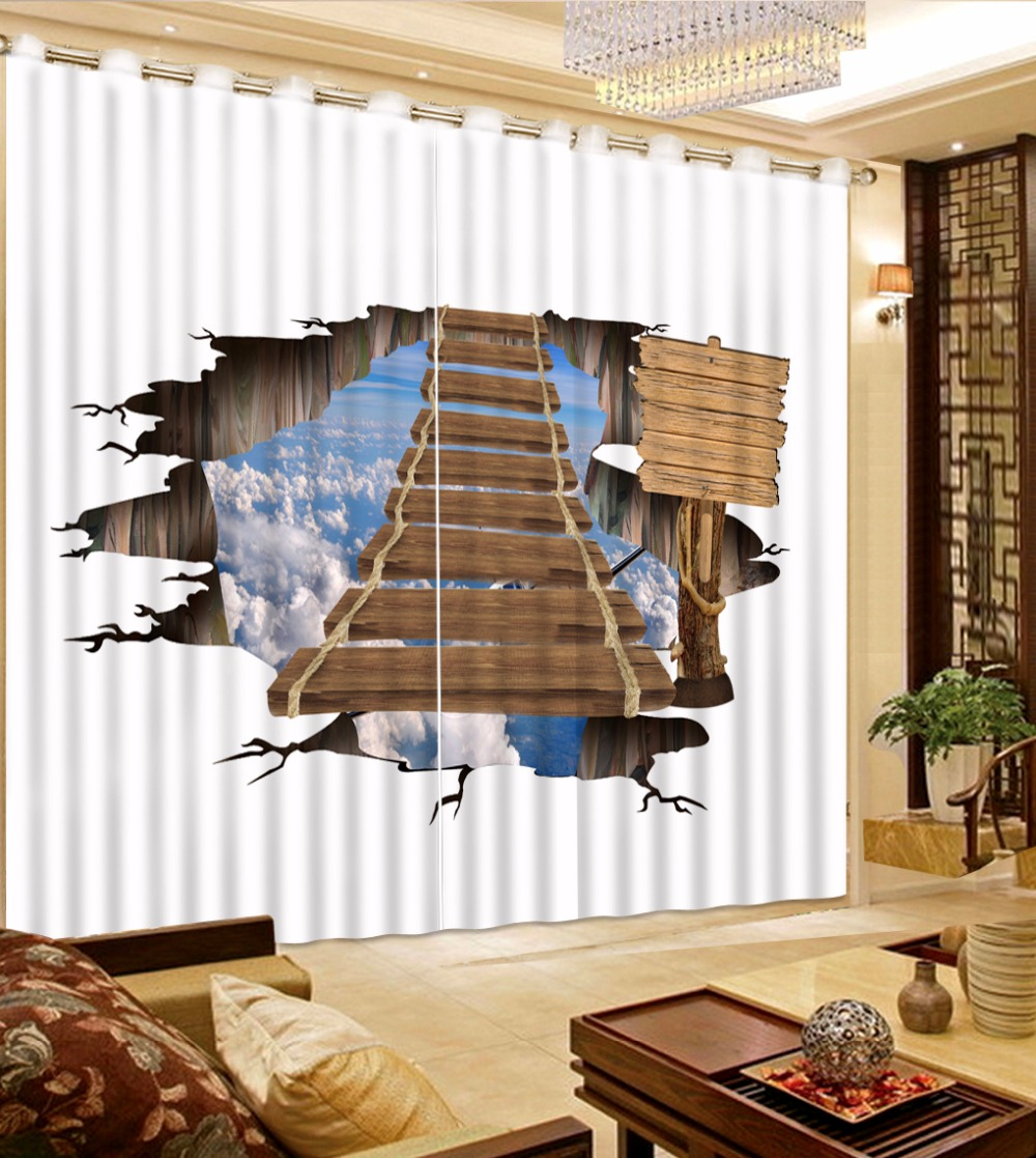 2017 New Arrival Curtain 3D Creative wood bridge Kitchen Curtains White clouds and blue Sky kids Boys and Girls Curtains 2017 New Arrival Curtain 3D Creative wood bridge Kitchen Curtains White clouds and blue Sky kids Boys and Girls Curtains