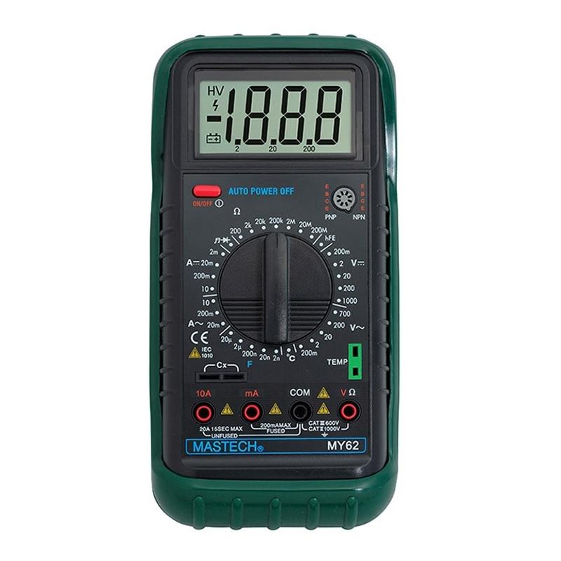 1pcs MASTECH MY62 Handheld Digital Multimeter DMM w/Temperature Capacitance & hFE Test Testers Meters  цены