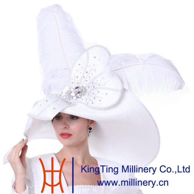 3c4ea0a174a Kueeni Women Church Hats Outfits Hat Wedding White With Suits Available  Long Feathers Large Size Wide Brim Special Designer Hats