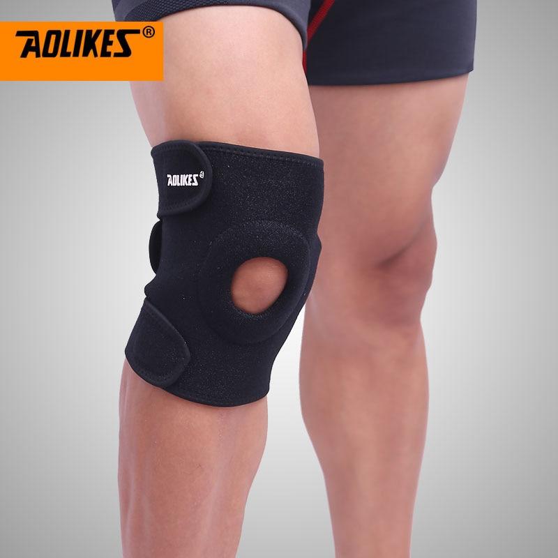 AOLIKES 1PCS կարգավորելի սպորտային ծնկների բարձիկներ Ֆուտբոլ Բասկետբոլ Վոլեյբոլ ոտքի ծնկի աջակցության համար Brace Patella պահապան պաշտպանիչ բարձիկներ