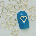 K116  200pcs/lot  Gold Hollow Heart Metal Line Nail Art Tiny Slice Case DIY Metal Stud Nail Accessories For Ladies