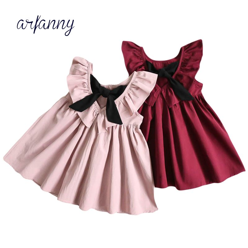 Baby Girls Clothes Europe Zomer 1 2 3 4 5 6 years girl dress the summer children Bow Leaking back shaped cotton dress Kleding