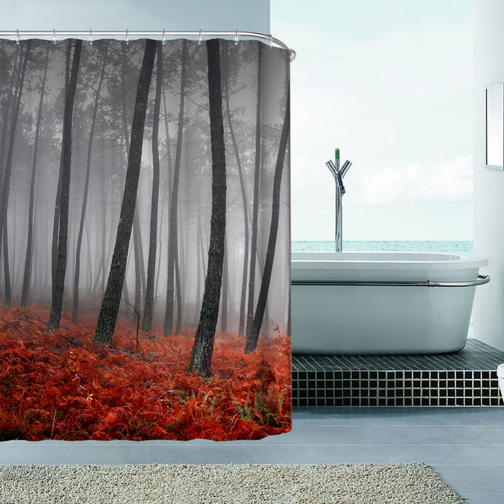 Hot Selling Autumn Italian Forest Polyester Waterproof Shower Curtains Bath  Bathing Sheer Curtain For Home Decoration