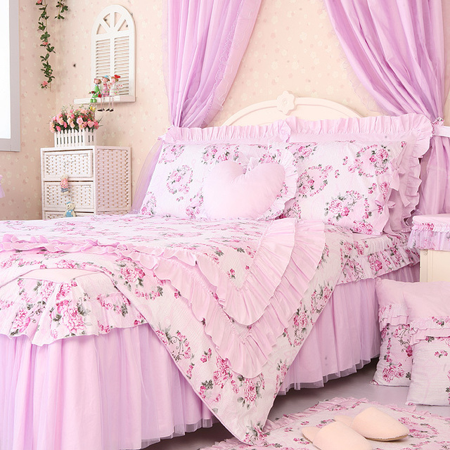 free shipping princess lace ruffle floral light purple bedding setskids soft bow duvet cover