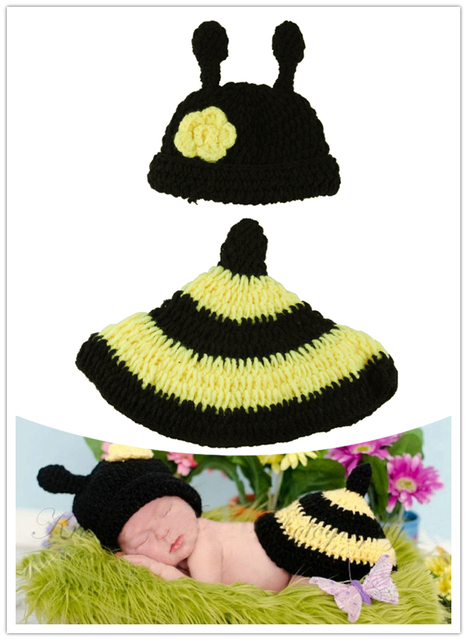 Free Shipping Cute Bee Pattern Kids Photography Props Knitted
