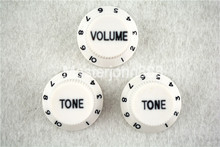 1 Set of Electric Guitar Control Knobs White With Dark Paint 1 Volume&2 Tone Knobs For ST SQ Electric Guitar цены