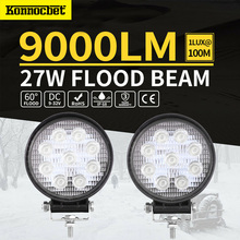 цена на 27w Round Led Light Bar Flood 12v For Jeep Atv Uaz Suv 4wd 4x4 Truck Tractor Led Work Light Reverse Lamp Off Road Waterproof