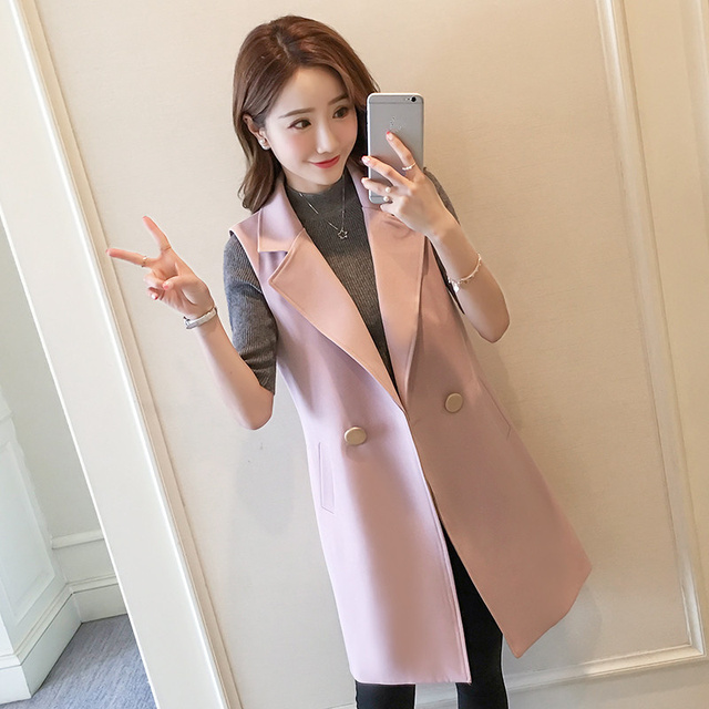 Suit Vest Women Spring Summer Elegant Long Vest Coat Chaleco Mujer Sleeveless Black Cardigan Blazer Vest Jacket Waistcoat C4339