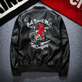 Fashion Japanese Young Men's PU Leather Locomotive Badge Embroidery Jacket Trend Male Coat