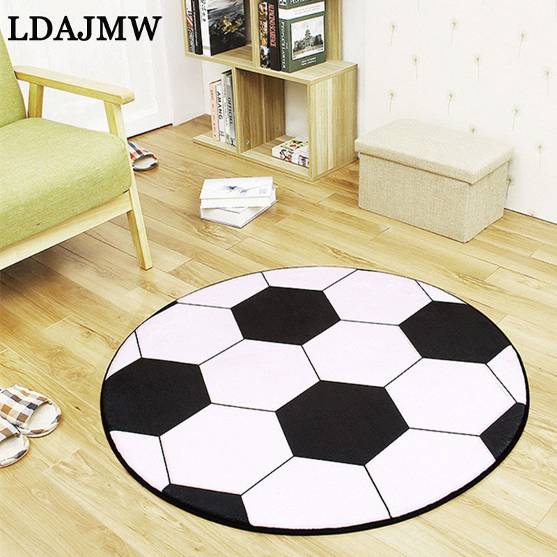 LADJMW New Polyester Anti-slip Ball Round Carpet Computer Chair Pad Football Basketball Living Room Mat Children Bedroom Rugs