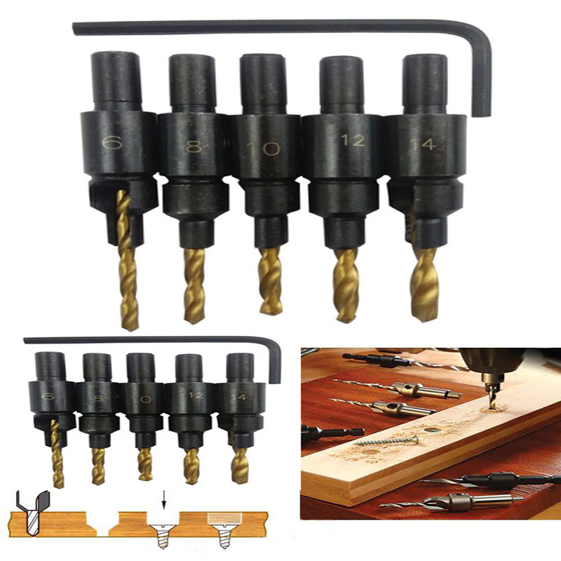 New Hot  5pcs Hss Woodworking Ti Countersink Drill Bit Set Wood Countersinks Screw Size #6 #8 #10 #12 #14 Tool Kits woodworking counter bit wood countersinks drill bit set 1 8 7 32 5 6 7 8 9 10 12 with hex wrench