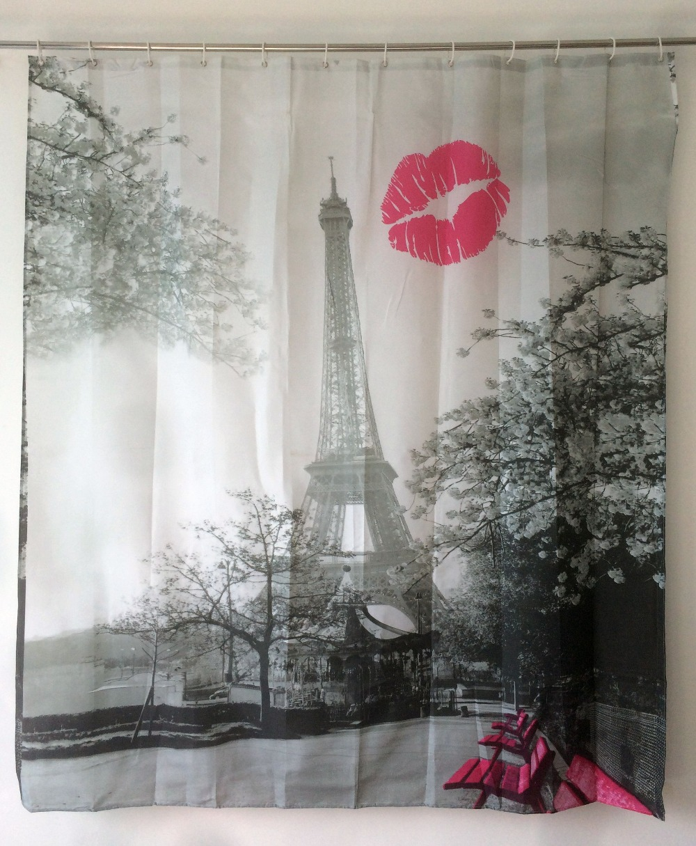 Red Lip Eiffel Shower Curtain Tower Pattern Bathroom Curtain Waterproof Polyester Fabric With 12 Hooks Cortina Ducha