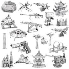 Metal 3D Modelo Puzzles DIY Puzzle Jigsaw Kit Para Adultos Crianças Brinquedos Educativos Coleção igreja