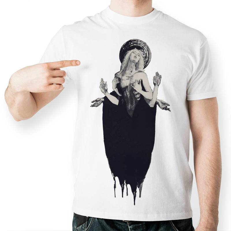 Creative Fashion Nude Design T-Shirts Pencil Hand Drawn Six Arm Sexy Lady Printed Novelty Style