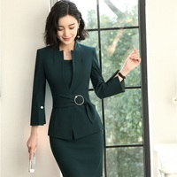 2018 New Styles Elegant Uniform Designs Blazers Suits With Two Piece Jackets And Dress For Women Business Work Wear Sets