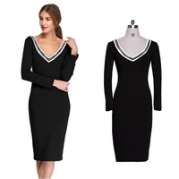 TFGS Design Vestidos Women Party Dresses Long Sleeve Stretch Bodycon Pencil Sexy Club Evening Casual Mid