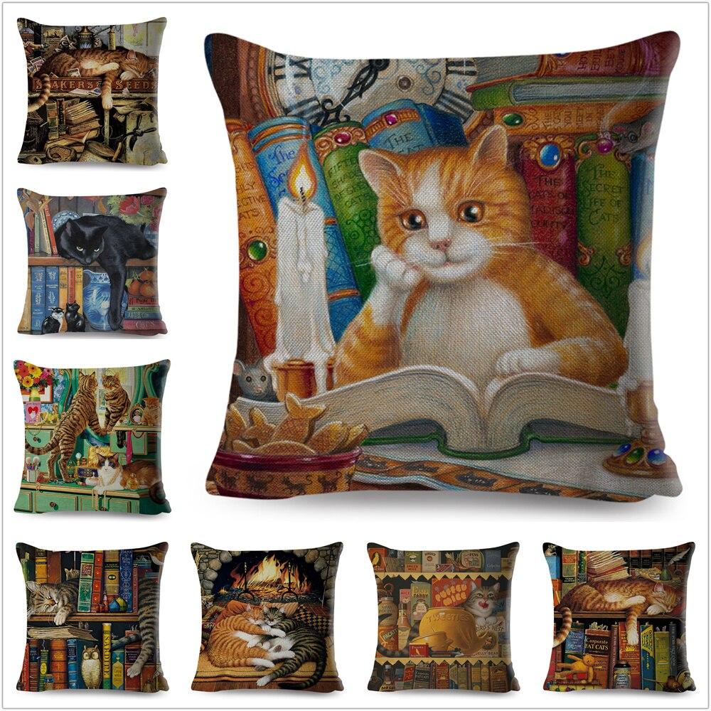 Cute Book Cat Party Cushion Cover Throw Pillowcase Home Decor Cartoon Animal For Sofa Linen Square Printing Cojines Pillow Case