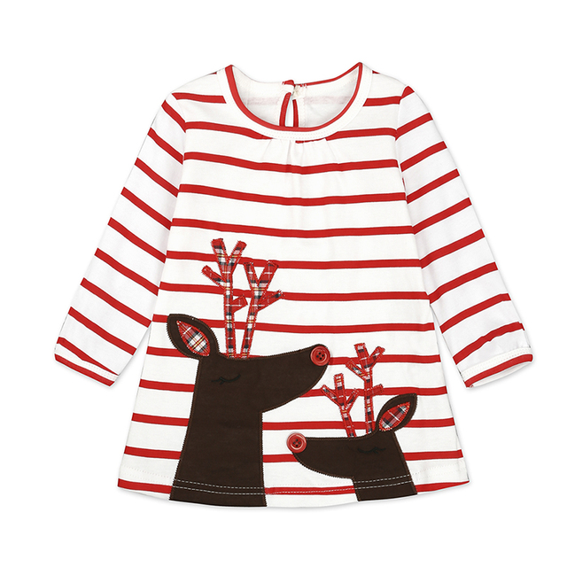 Lovely Baby Girls Dresses Autumn Christmas Decoration Striped Dress