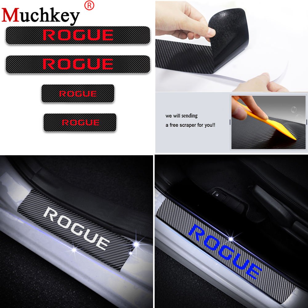 for Nissan Rogue Door Sill Protector Reflective 4D Carbon Fiber Sticker Door Entry Guard Door Sill Scuff Plate Stickers Auto Accessories 4Pcs Red