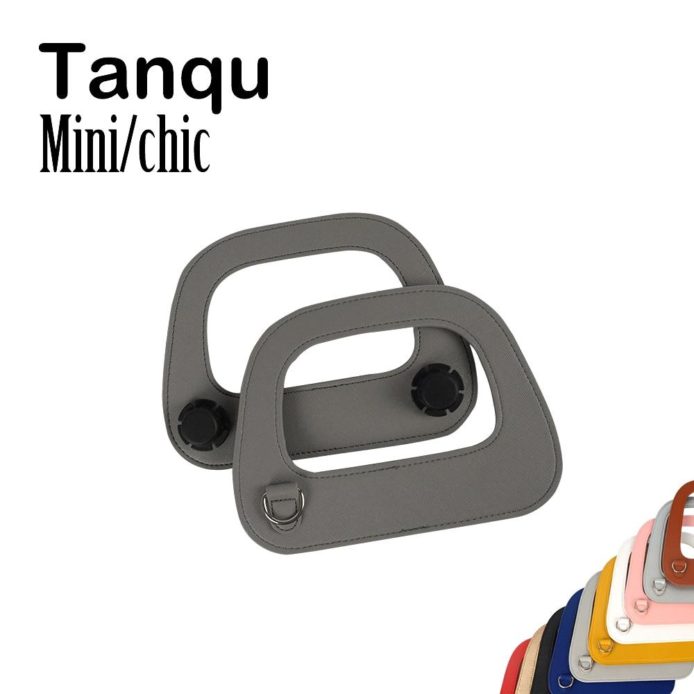 Tanqu Edge Painting Silver Metal D Buckle Mini Oblong Leather Handle For O Bag Mini O Chic Handbag