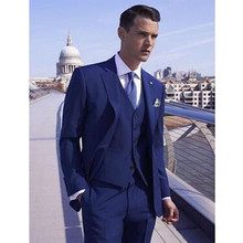New Style Wedding Suits For Men Party Groomsmen Suits Custom Made Suits Tuxedos Men's Suit(Jacket+Pants+Vest)