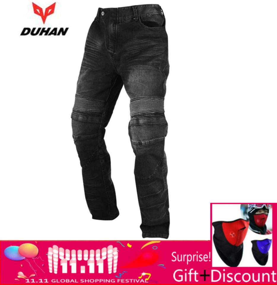 DUHAN Motorcycle Pants Windproof Men's Racing Jeans Riding Trousers Automobile Race Pants with Knee Protector Guards DK-018 image