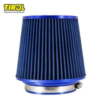 TIROL Free Shipping Round Tapered Universal Auto Cold Car Air Intakes 3 76 88 101mm Motorcycle Air Filters (Blue) T10176a