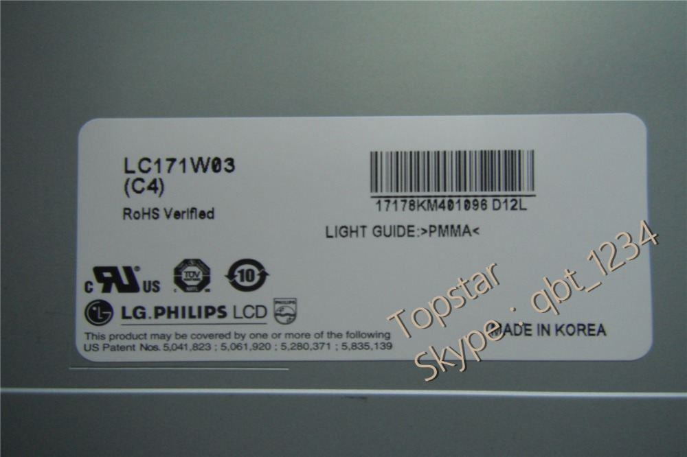 Original 17.1inch LC171W03 C4  LC171W03(C4) LC171W03-C4  LCD Screen Display A+ Grade 6 Months Warranty