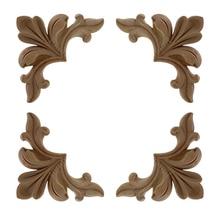 Decoration Decals Furniture-Accessories Appliques Flower-Door Runbazef Wooden Carved-Corner