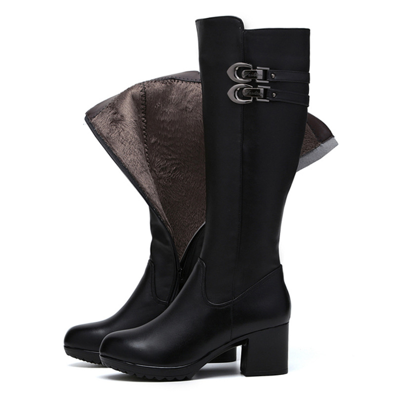 Women warm in Autumn Winter Genuine Leather High Boots Fashion ladies Thick heels Woman Round toe Shoes Womens Black Boots genuine leather square toe mid calf boots autumn winter boots warm shoes woman thick high heels shoes for women boots