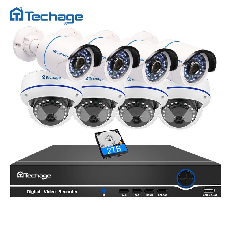 Techage 8CH 1080 P POE NVR CCTV Системы 2MP Крытый Открытый купольная PoE IP Камера ИК ночного P2P видеонаблюдения Комплект 3 ТБ HDD