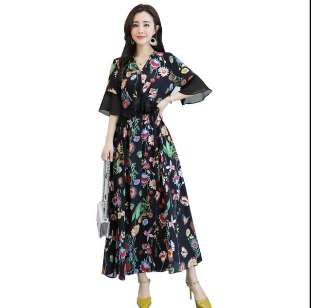 Women\'s Floral Print Pleated Chiffon Maxi Long Dress with Sashes Deep  V-Neck 2019 Spring Vintage Plus Size Dresses