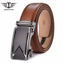 Plyesxale hommes ceinture 2018 cuir de vachette véritable ceintures pour  hommes luxe automatique boucle de ceinture marron noir . d94e275f7c5
