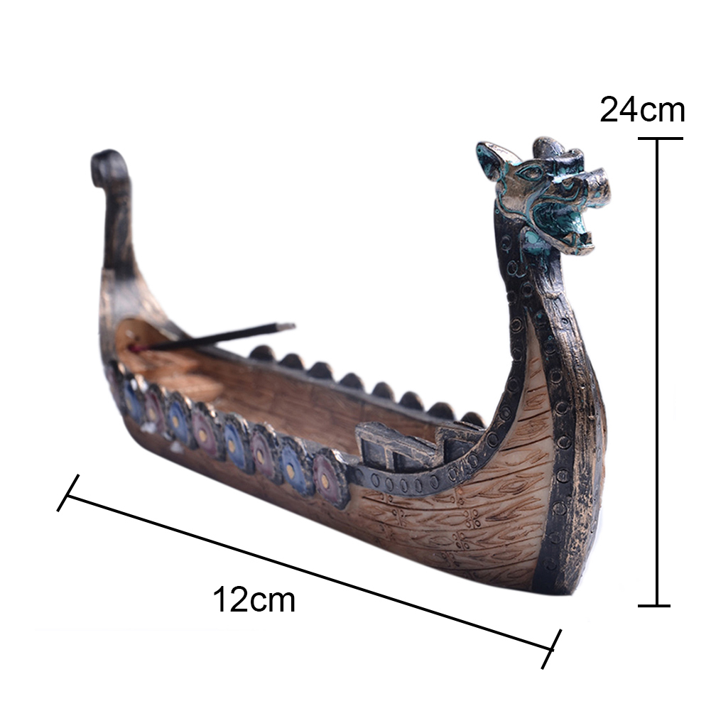 Retro Incense Burners Traditional Chinese Design Dragon Boat Incense Stick Holder Burner Hand Carved Carving Censer Ornaments in Incense Incense Burners from Home Garden