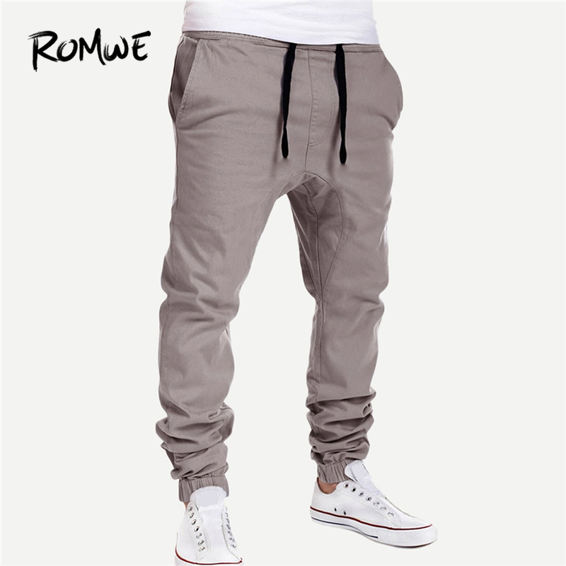 ROMWE Men Grey Button Pocket Solid Drawstring Mens Joggers Pants Fashion Mankind Casual Clothes 2019 Autumn Male Spring Trousers