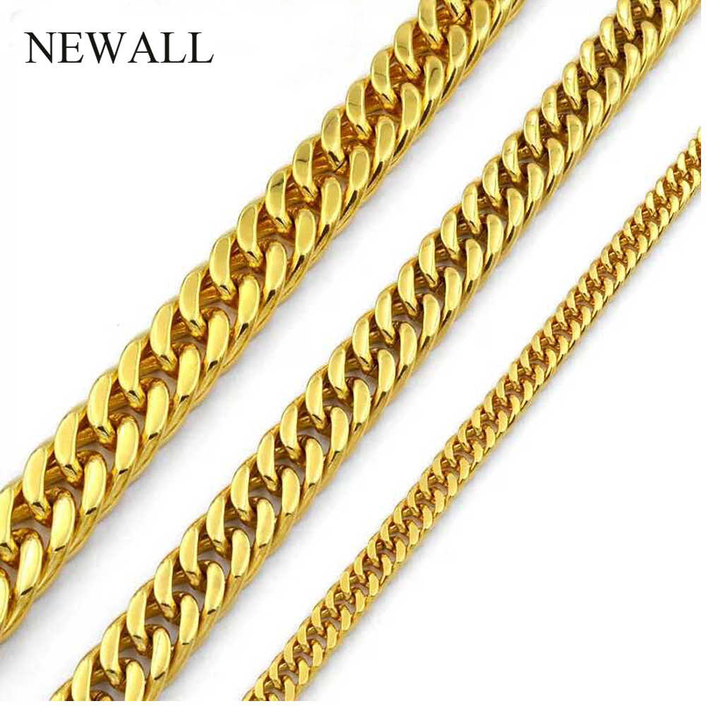 Newall Popular 4-10mm Stainless steel silver Cuban chain Men Women necklace hip hop jewelry friend gift 50-90cm Length wholesale