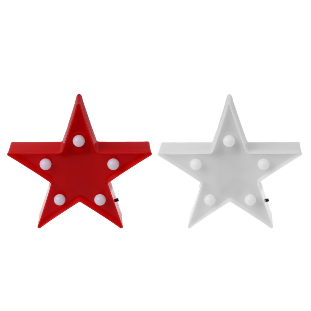 3D Marquee Stars Table Lamp 5 LED Battery Operated Night Light Childrens Room Decor Indoor Lighting