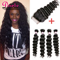 Malaysain Loose Deep Wave With Closure Malaysian Virgin Hair With Closure Ali Moda Water Wave With Closure 4 bundles ROSA