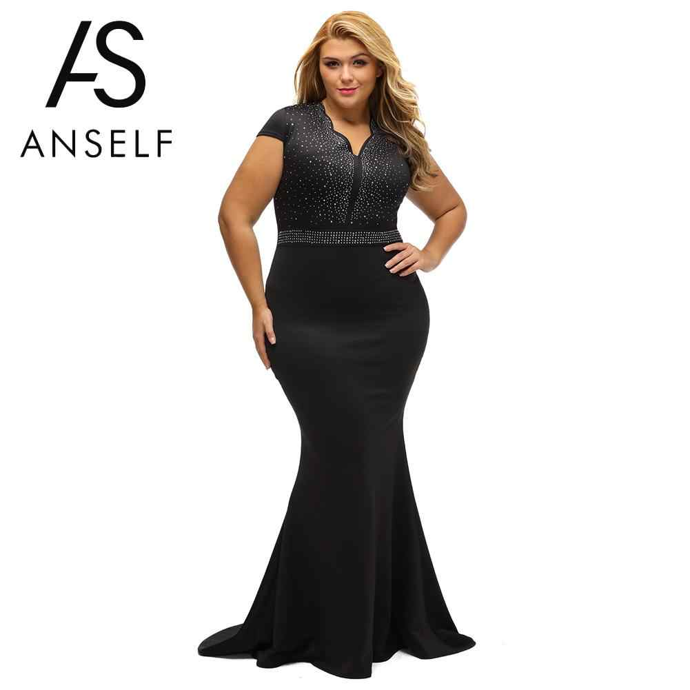 ANSELF 3XL Woman Plus Size Dress Rhinestone Scalloped V Neck High Waist  Long Gown Big Size 95940a1c59a2