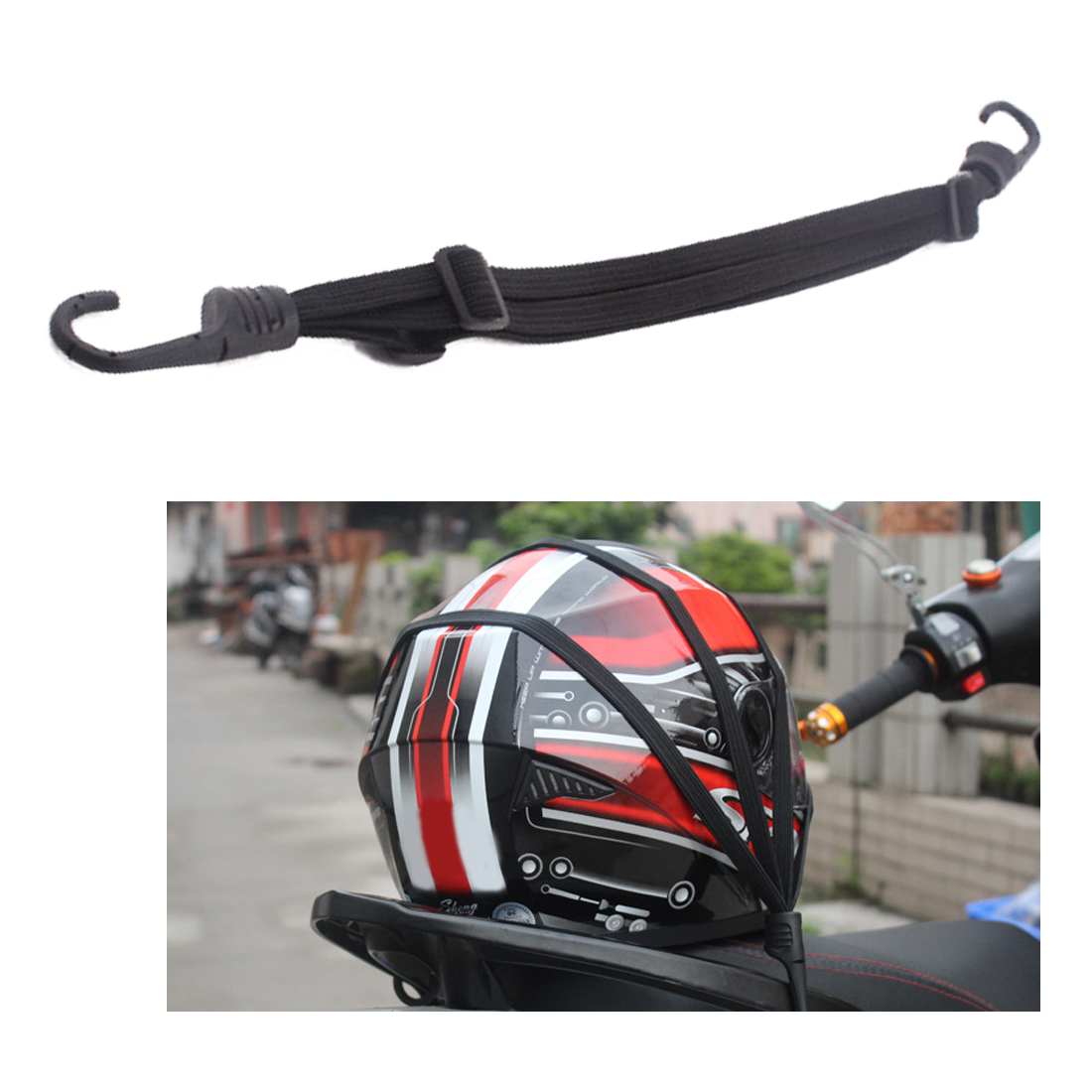 Dewtreetali 2 Hooks Motorcycles Strength Retractable Helmet Luggage Elastic Rope Strap