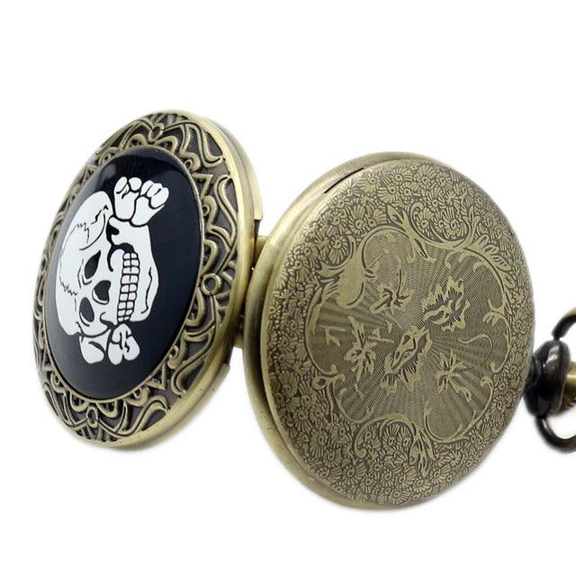 Belle drôle rétro Bronze crâne os conception Fob poche montre haut vente avec collier chaîne cadeau pour hommes femmes