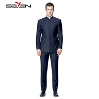 Seven7 Tailor Made Men Suits Blazer Chinese Style Mandarin Collar Fashion Suits High Custom Made Suits