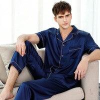 Fashion 100% genuine silk pajamas sets men short sleeves sexy silk pajamas for male pure color silk indoor wear pyjamas mens