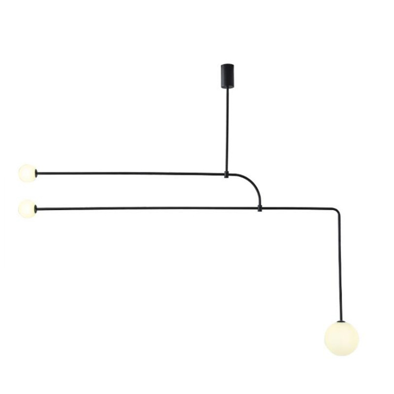 Modern Simple Designer Iron Pipe Glass Pendant Light for Foyer Dining Room Bar Decor Black/Gold Suspension 1837|Pendant Lights| |  - title=
