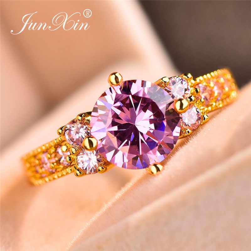 JUNXIN ขายส่ง Multicolor Zircon แหวน Birthstone สำหรับผู้หญิงผู้ชายสีเหลืองทองรอบสีม่วงสีฟ้า CZ งานแต่งงานแหวนหญิง