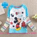 Bandeiras 2016 novo bebê menino roupas infantis roupa infantil T-shirt dos desenhos animados manga comprida T camisa crianças roupa do desgaste top T2113 #