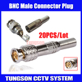 20pcs/lot PURE COPPER Soldering BNC Male Connector Plug to RG59 Coaxial Cable Coupler Adapter for CCTV Camera