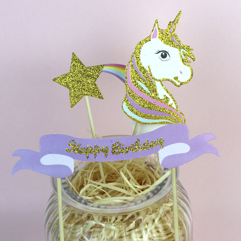 3 Pcs/set Unicorn meteor Cake Topper Happy Birthday Party Cake Decoration Baby Shower Unicorn Party Supplies