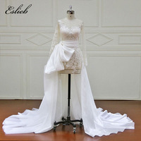 Sexy Illusion High Low Wedding Dress Sheer Bodice Huge Bow Appliques Detachable Tail Tulle Long Sleeves
